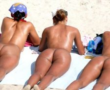 A Nude Beach Sunbathing Girls On Their Asses Three