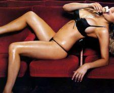 Abi Titmus Black Bikini In Sofa