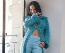 Alizee Blue Coat Cute Look