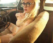 Ancilla Tilia Sexy Girl Blonde Corset Stockings Retro Car