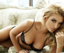 Beautiful Blonde Girl Makeup Black Lingerie Breast Nipple