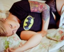 Beauty Blonde Girl Rest Tattoos Sexy Panties Shirt Batman
