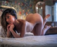 Beauty Brunette Naked Bed Lovely Body