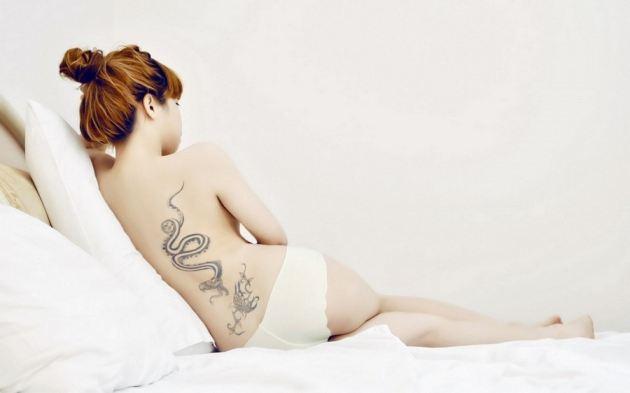 Bed Girl Asian White Panties Tattoos