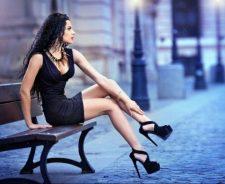 Bench Long Skinny Legs High Heels Short Dress Girl