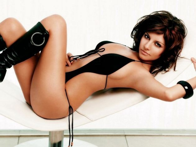 Black Bikini Girl Laying Legs Up