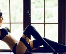 Black Lingerie Girl Brunette Body Figure Stockings Sexy Position
