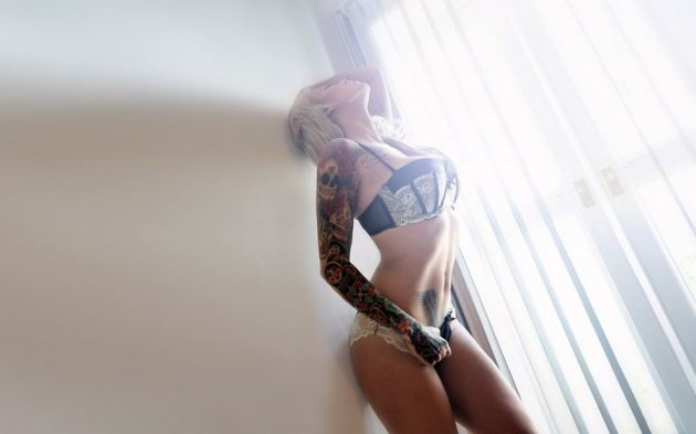 Black Lingerie White Lace Girl Tattoos On Arm