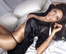 Black Silk Negligee Boobs Girl Panties Lying On Back Brunette