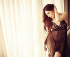 Black Silk Negligee Large Window Light Girl Asian