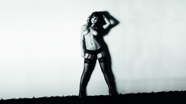 Black Stockings Nice Body White Wall Girl Topless Beautiful Tits