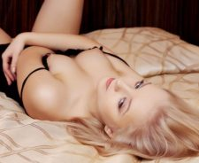 Blonde Girl Nipples Lying Back Bed