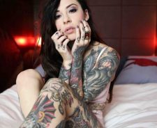 Body Coverd In Tattoos Girl Bed Red Lighs