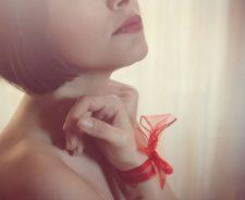 Bow Ribbon Girl Hand Face Lips Mood
