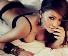Bracelets Black Lingerie Tummy Lying Bed Sexy Beautiful Girl