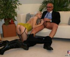British Slut Old Man Fucks Blonde In Stockings