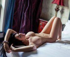 Brittani Jayde Model Brunette Erotic Breasts Piercing Lying Naked