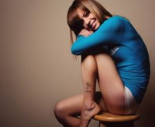 Chair Blue Sweater Panties Leg Flower Tattoo Girl
