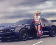 Chevrolet Camaro Girl Shorts Flag Road Boots
