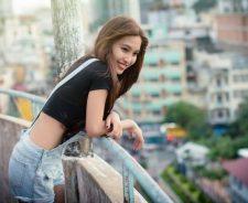 City Sexy Girl Asian Model Smile