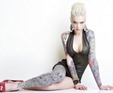 Covered With Tattoos High Heels Blonde Girl Cleavage Legs