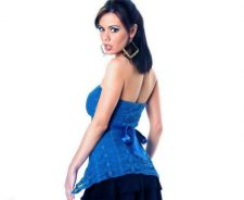 Crissy Moran In Blue Dress Back