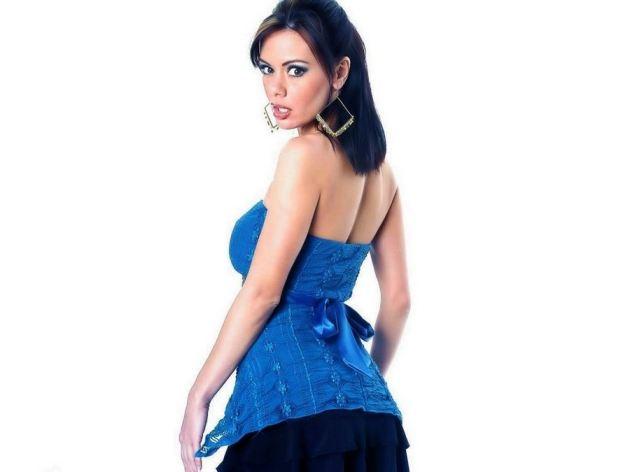 Crissy Moran In Blue Dress Back