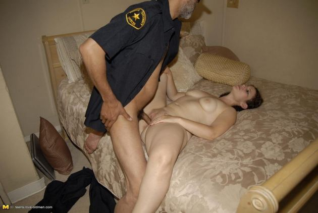 Curly Haired Brunette Teen And Old Man