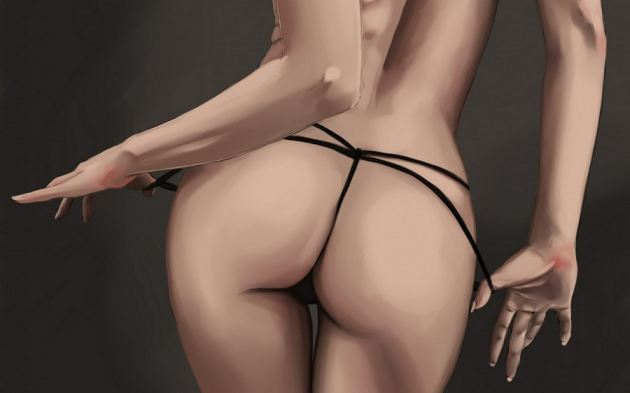 Drawing String Panties Sexy Ass Girl Pink