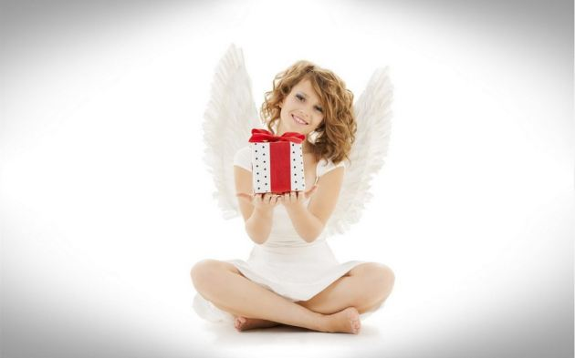 Girl Angel Sits Down With Gift