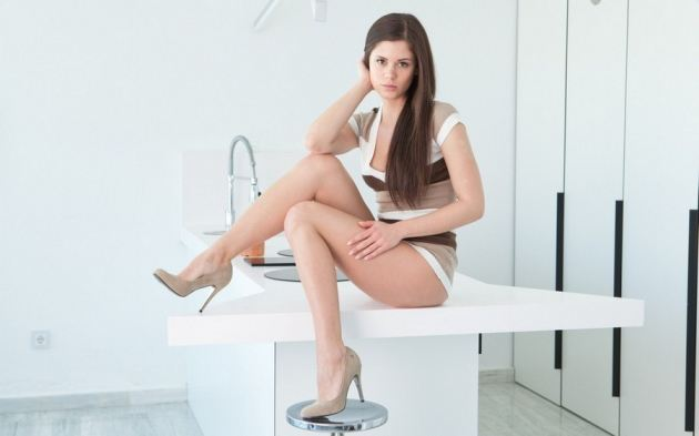 Girl Ass On Table Little Caprice Sexy Legs Eyes Shoes Heels