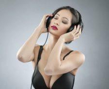 Girl Big Tits Bra Music Headphones