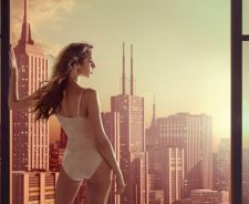 Girl Brown Hair Profile Wind Swimsuit Window City Skyscrapers
