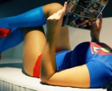 Girl Comic Book Superman Shirt Blue Stockings Huge Breasts