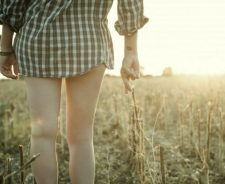 Girl Field Shirt Legs Crossing Fingers Tattoo Bracelets