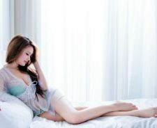 Girl Lying In Bed Legs Sexy Lingerie Large Window