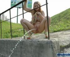 Girl Pee Standing Outdoors