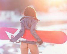 Girl Snowboard Hot Ass Panties