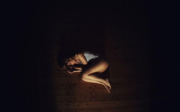 Girl Squat Pose Shirt Legs Floor Low Light