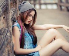 Girl Woden Fence Street Farm Sexy Asian Legs