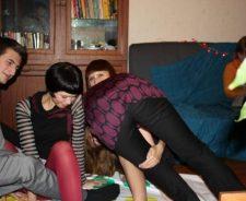 Girls Playing Twister Pantyhose