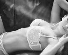 Grayscale Girl Bra Panties Lace Breasts Couch