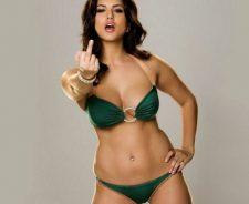 Green Lingerie Sunny Leone Star Sex Jism