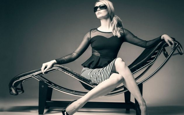 High Heels Large Chair Blonde Girl Sunglasses