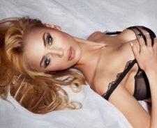 Holding Boobs Blonde Model