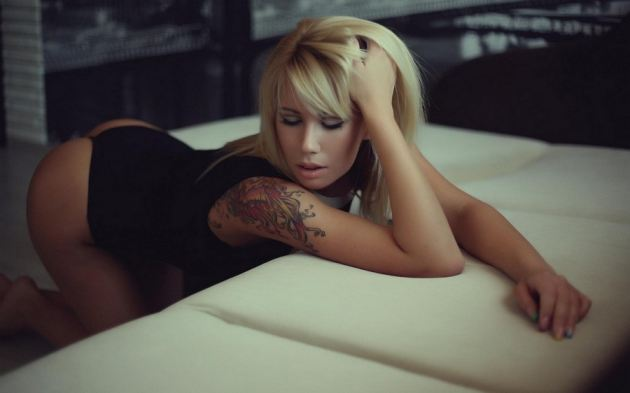 Hot Ass Blonde Girl Tattoo Bokeh