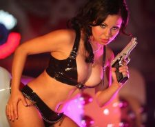 Hot Black Bikini Babe With Gun