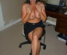 Hot Brunette Milf Naked Topless At Work