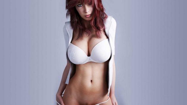 Huge Breasts In White Bikini