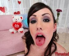 Jennifer White Throated Tongue Black Hair Eye Contact